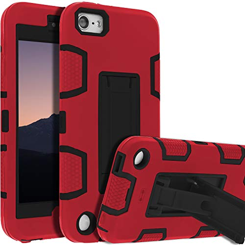 iPod Touch 7th Gen Case,iPod Touch 6th Gen Case,Kickstand Case for iPod Touch,Anti-Scratch Anti-Fingerprint Heavy Duty Protection Shockproof Rugged Cover Apple iPod Touch 2019,Red