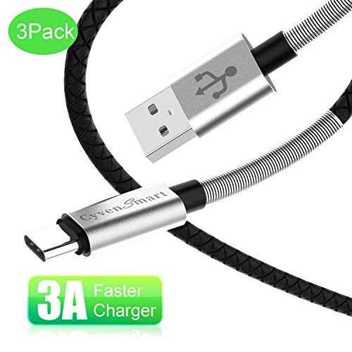 USB Type C Cable 3 ft, Compatible with Samsung Galaxy S8 S9 S10 Plus Charger (3A Fast Charging) 3 Pack 3 Feet USB A to USB-C TPE Cord Replacement for Samsung Note 9 8,LG V50 V40 G8 G7 Thinq, Moto Z