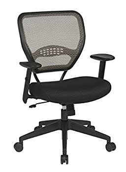 SPACE Seating AirGrid Latte Back and Black Padded Mesh Seat 2-to-1 Synchro Tilt Control Adjustable Arms and Tilt Tension with Nylon Base Managers Chair