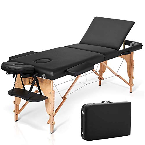 JL Comfurni  Portable Massage Table 3 Section All-Inclusive Folding Couch Bed for Tattoo Beauty Salon Therapy with Wooden Frame -Black