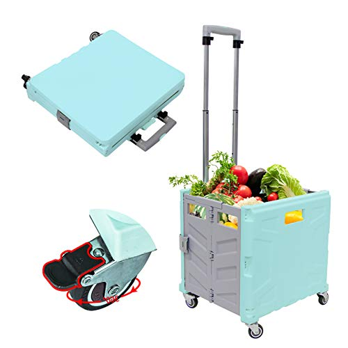 Foldable Utility Cart, 4 Wheeled Collapsible Shopping Handcart with Brake System Heavy Duty Portable Rolling Crate Handcart with Seat for Travel Moving Luggage Tools Office