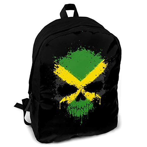 CZZD Jamaica Dripping Splatter Skull Travel Laptop Backpack Schoolbags Men and Women On Campus
