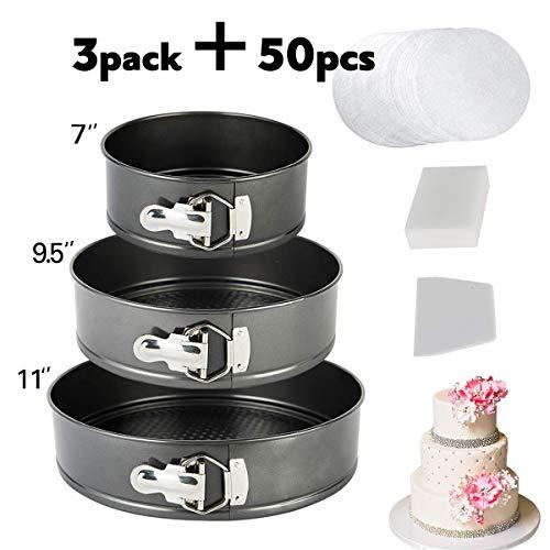 vplus Springform Pan Set,3 Pieces Nonstick Bakeware Set Cake Pan Set with 50 Pcs Parchment Paper Liners