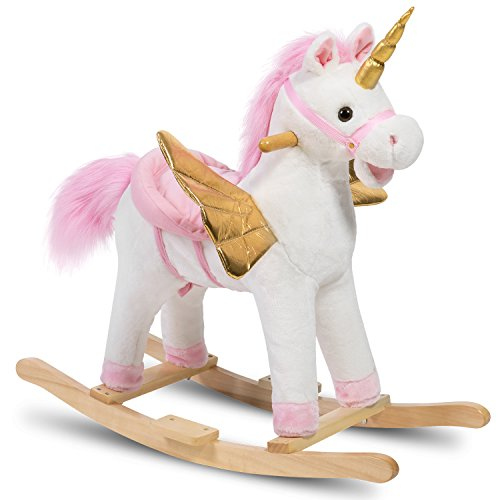 HollyHOME Plush Rocking Unicorn with Wings Stuffed Rocking Animals Rock On