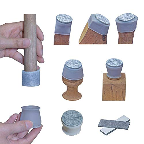 Furniture small Leg Protector. Felt Bottom Soft Silicone Tiny Chair Foot Protector Pads. 32 Pcs Free Moving Table Leg Covers, 16 Thickened Felt Strips. Stool Metal Small Chair Leg Protector Cap. Grey.