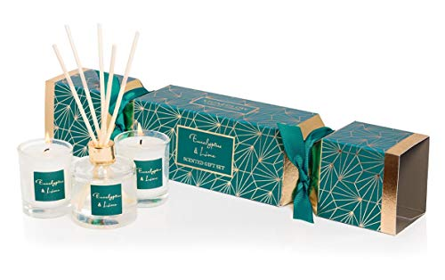 Stoneglow Seasonal Collection Eucalyptus & kalk Reed Diffuser en kaars cadeauset in een Cracker