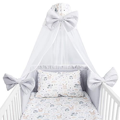 Amilian Juego de ropa de cama para bebé, 7 piezas, con protector de cuna, 100 x 135 cm, dosel de cama, ropa de cama para bebé, para iluminación de bebé (dosel de gasa)