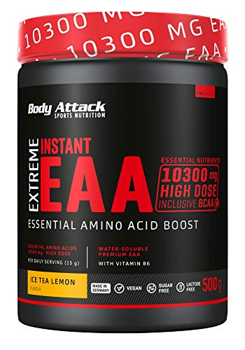 Body Attack Extreme Instant EAA Pulver - 500g, extrem Lecker, sofort löslich, vegan, 8 essentielle Aminosäuren hochdosiert - 10300mg EAAs pro Shake, Made in Germany, Ice Tea