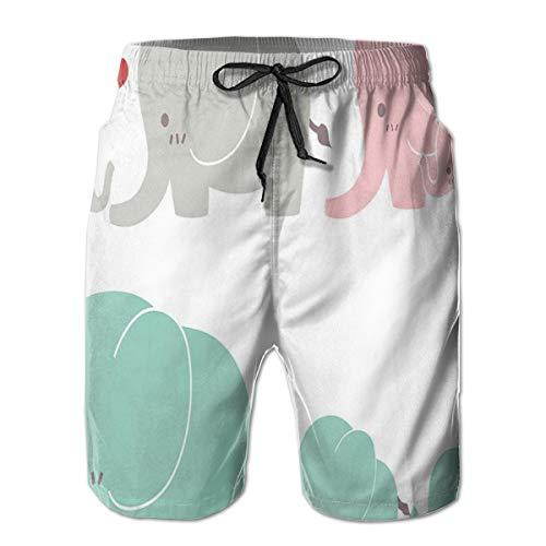 DHNKW Men's Swim Trunks Board Shorts Beach Pants Surfing Boardshorts,Family Love Theme Cute Sweet Elephants Mothers Day Theme Baby Children,Fancy Print Hawaiian Shorts Four Size,Medium