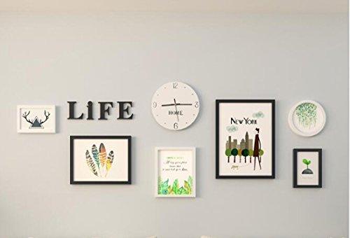 Nordic minimalistische woonkamer decoratie foto muur hal/ingang/bank achtergrond muur fotolijst muur combinatie (6 fotolijst +acryl LIFE Letters muursticker+witte klok)
