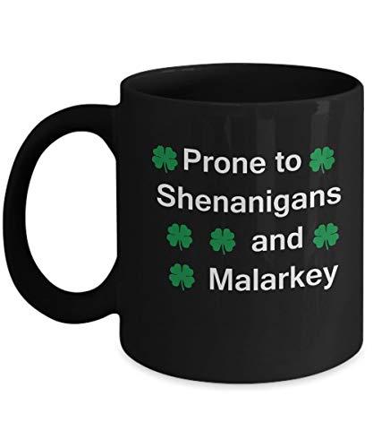St Patrick's day mug - Panoware Men's ST Patricks Day Mug | Prone To Shenanigans and Malarkey - Porcelain Black Funny Coffee Mug & Coffee Cup Gifts 11