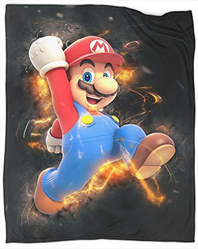 Super Mario Bros - Manta de forro polar de 2 colores Super Mario Bros tamaño ligero, súper suave, fácil de cuidar, manta para cama de 50 x 40 pulgadas