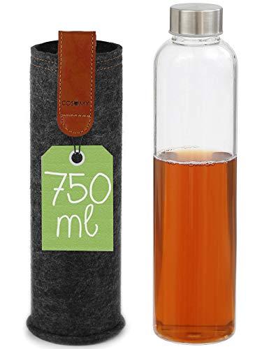 Cosumy Trinkflasche aus Glas mit Filzhülle für Unterwegs - 750ml Glasflasche - Robustes Borosilikatglas - Auslaufsicher