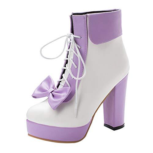 MISSUIT Damen Schnürstiefeletten High Heels Plateau Ankle Boots mit Schnürung und Blockabsatz Schleife Rockabilly Lolita Cosplay Schuhe(Lila,45)