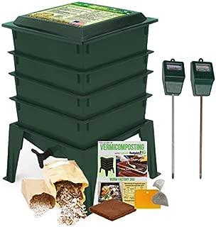 Worm Factory 360 Composting Bin + Moisture and pH Testing Meter Worm Farm Kit (Green)
