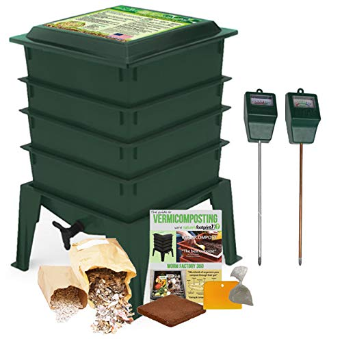 Lowest Prices! Worm Factory 360 Composting Bin + Moisture and pH Testing Meter Worm Farm Kit (Green)