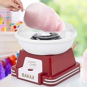 BAKAJI - Máquina de azúcar con Hilo de Acero y Aluminio, diseño Vintage años 50, 10 Varillas Incluidas, Rojo, 500 W, plástico, Media