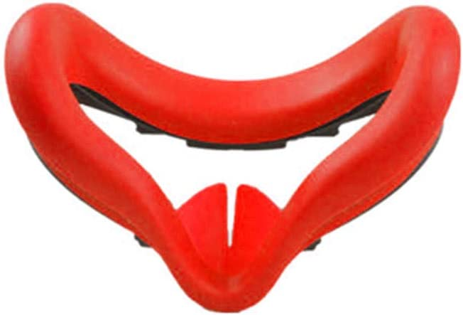 Insuwun VR Silicone Face Cover Pad Compatible for Oculus Quest 2 VR, Sweat-Proof Lightproof Non-Slip Washable Replacement Face Pads Accessories (Red)