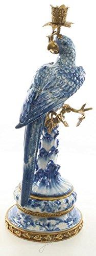 Casa Padrino Jugendstil Kerzenständer mit Papagei Blau/Weiß/Gold 21,8 x 18,6 x H. 50,7 cm -...