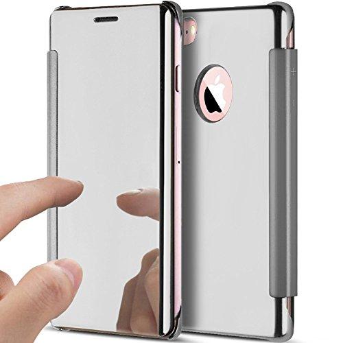 JAWSEU Carcasa Espejo Compatible con iPhone 5S/SE Mirror Flip Tapa Libro Caso...
