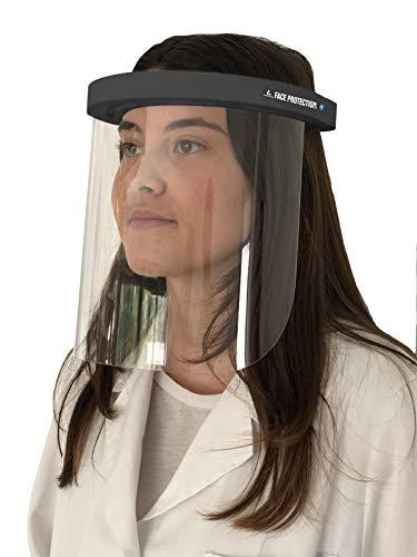 Pantalla Facial – 5 Unidades Completas con Visera – Pantalla Facial Ajustable Antivaho con Protección contra Gotas, Humo y Saliva – Máscara de Plástico Transparente con Visera – Cómoda y Fácil