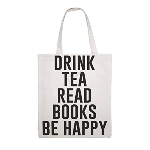 Bolsa de lona de algodón – Bebe Tea Read Books Be Happy, reutilizable bolsa de compras con diseño de bolso de hombro