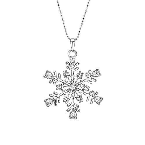 Ever Faith - Plata-Tono Austrain Cristal Copo De Nieve Flores Fiesta Collar...