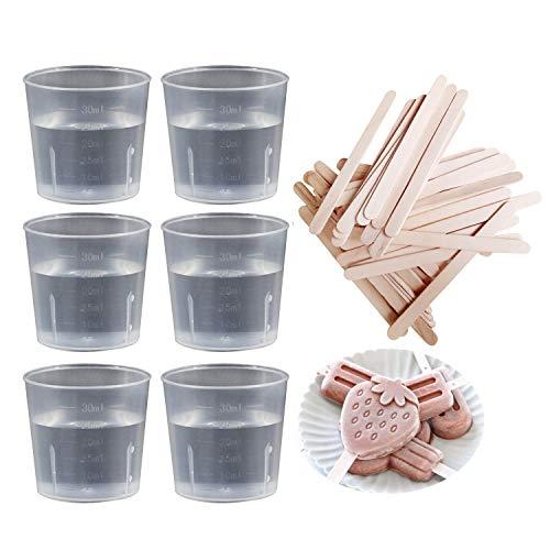 LEEQ - Juego de 50 vasos graduados de plástico (30 ml), transparente...