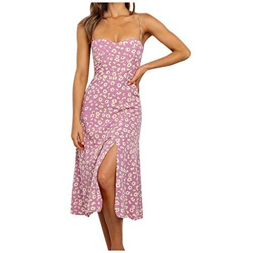 Kleid Slip Dress Damenmode Prairie Blumendruck Sleeveless Strap Fork Opening Dress Partykleider Damen Sexy Elegant Damen Rock Sommer Knielang-Pwtchenty