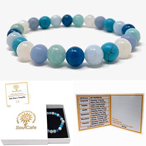 Calm & Tranquillity Crystal Power Bead Bracelet - Stretch Healing Crystal Gemstone Bracelet - SoulCafe Box and Information Tag - Amazonite, Apatite, Angelite, Moonstone, Aquamarine, Turquoise