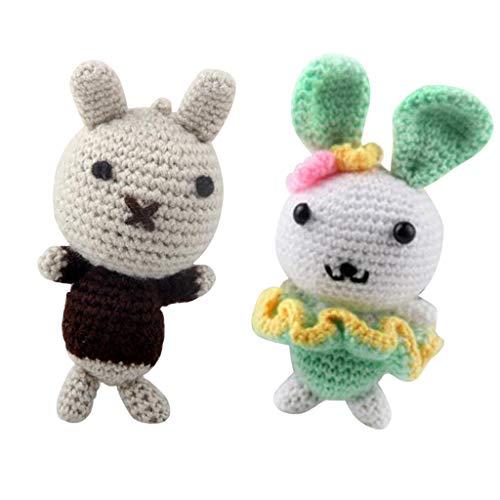 harayaa 2 Rabbit Amigurumi Crochet Kit 15cm Kit de Tejer Muñeca Material de Bricolaje