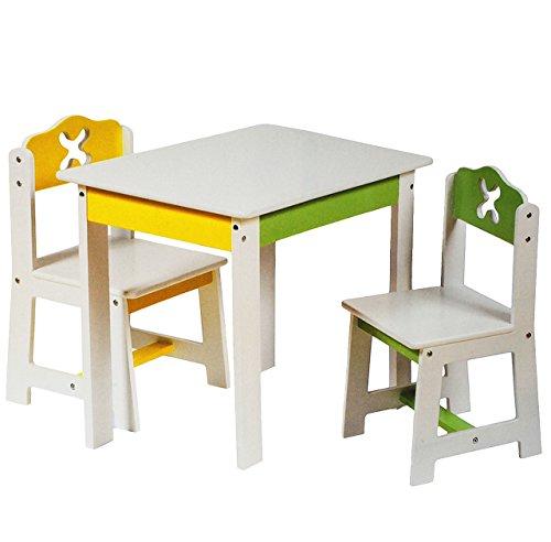 alles-meine.de GmbH 3 TLG. Set: Sitzgruppe für Kinder - aus sehr stabilen Holz - weiß / grün / gelb - Tisch + 2 Stühle / Kindermöbel für Jungen & Mädchen - Kindertisch - Kinderst..