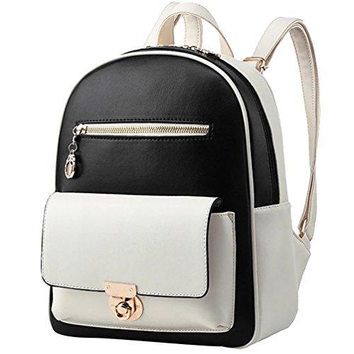 YiJee Donne Casuale Elegante Contrasto di Colore Colore Stile Zaini Nero Bianco