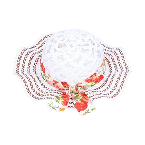COHU Sombrero de Playa Tejido, Lino de Moda, Cuerda elástica Ajustable, Lindo Sombrero de Paja para niños, fácil de Llevar con Lazo para Fiestas en la Playa para Fiestas en la Piscina para(B)