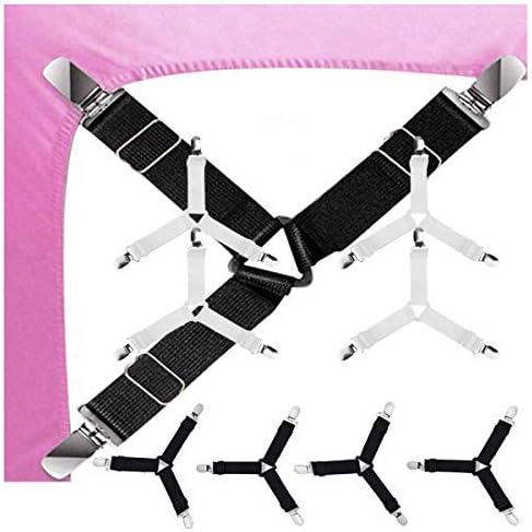 GQC Bed Sheet Holder Strap 2 Set Triangle Sheet Fastener Adjustable Elastic Sheet Clip Suspender product image