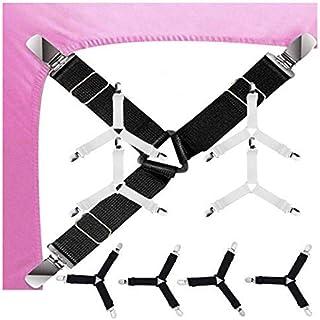 GQC Bed Sheet Holder Strap, 2-Set Triangle Sheet Fastener Adjustable Elastic Sheet Clip Suspender Clamp Gripper for Bed Sh...