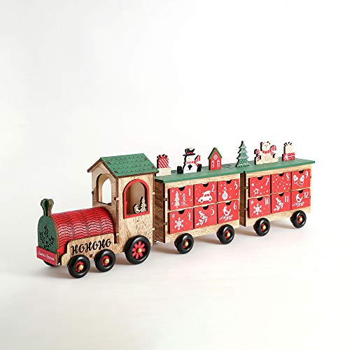PIONEER-EFFORT 24 Inch Christmas Wooden Advent Calendar Train with 24 Drawers for Adults and Kids Christmas Countdown Tabletop Decoration (White and Natural)