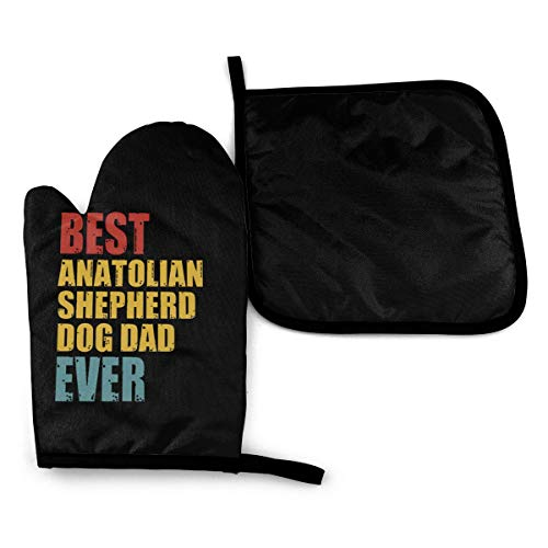 REONI Best Proud Anatolian Shepherd Dog Dad Ever Microwave Oven Mitts and Pot Holders Cover Set Heat Insulation Blanket Mat Pad Mittens Glove Baking Pizza Barbecue BBQ Accessories Home Kitchen Decor