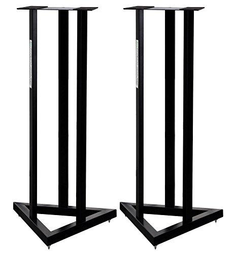 2x Pronomic SCS-20 Stativ für Studio Monitor Ständer (Höhe: 90 cm, Dreiecksbasis, Gummifüße, Dornenfüße/Spikes, Sicherheitssplint, Stahl, Trägerplatte mit Gummistreifen) Schwarz pulverbeschichtet