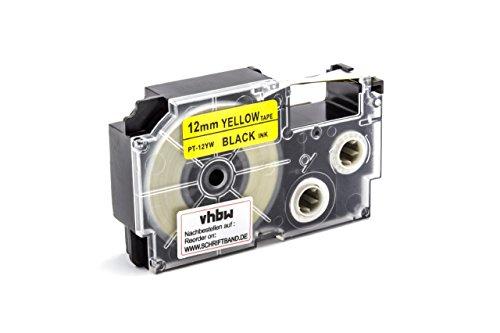vhbw Casete Cinta Escritura 12mm para Casio KL-130, KL-200, KL-2000, KL-200E, KL-7200, KL-7400, KL-G2, KL-HD1 reemplaza XR-12YW, XR-12YW1.
