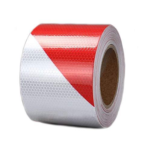 Zasiene Cinta Reflectante Adhesiva Cinta de Advertencia Distancia de Seguridad Rojo Blanco Cinta Seguridad de Señalización para Camiones Coche Marca de tierra,5cm x 10m