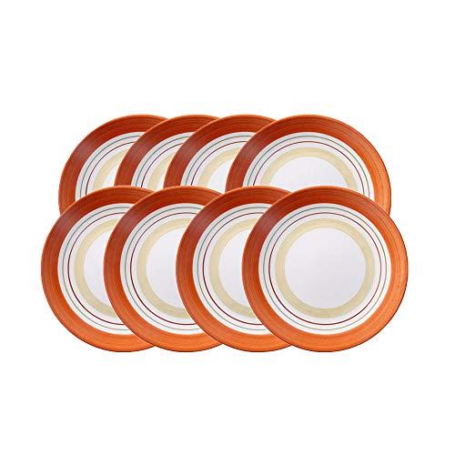 GSHIYA Rayas De Color Naranja Terracota Cena del Vajilla, Pintado A Mano Vidriado Representación, 3-10 Piece Los Sistemas De La Plata, por 3-10 Personas,8 Pieces