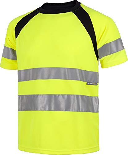 Work Team Camiseta Manga Corta Combinada con Alta Visibilidad. Cintas Reflectantes. EN ISO 20471:2013. Hombre Amarillo A.V.+Negro XXL
