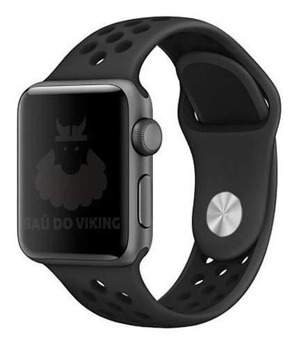Pulseira Silicone Furos Chumbo Preto 38mm SM, compatível com Apple Watch