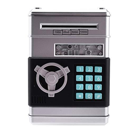 tellaLuna Dibujos animados electrónico ATM contraseña Hucha dinero moneda puede Auto Scroll papel dinero ahorro caja regalo para niños (plateado+negro)