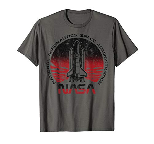 NASA Initiate Sequence Red And Black Faded Graphic T-Shirt