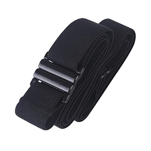 Adjustable elastic belt - Belts for Women, Non-Slip Waist Belt - No Show Flat Buckle Womens Belt - Black
