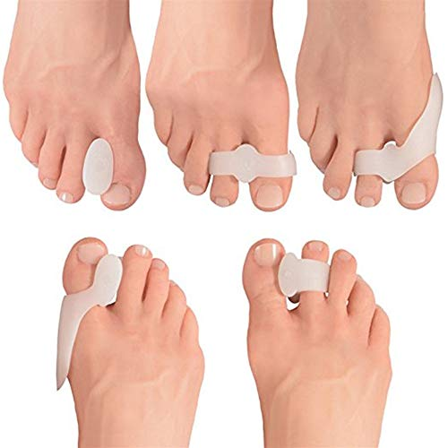 Séparateurs d'orteils en gel souple Bunion Coussins Bunion Corrector Toe Straighteners Overlapping Toes and Bunion Pain Relief - One Size Fits All (5