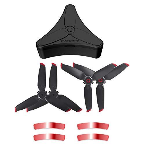 MotuTech - Custodia a elica per DJI FPV Drone, accessori scatola portaoggetti per 4 pezzi Propellers 5328S (Etui+4 eliche rosse)