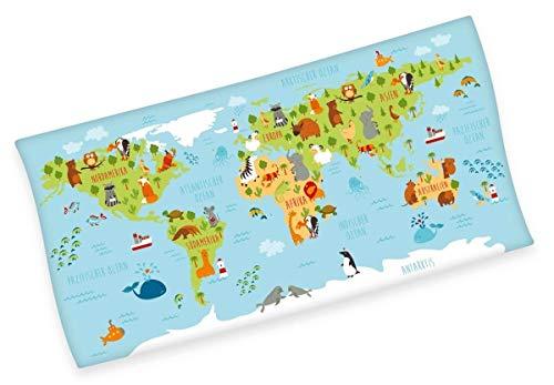 Wereldkaart-velours doek 75x150 cm